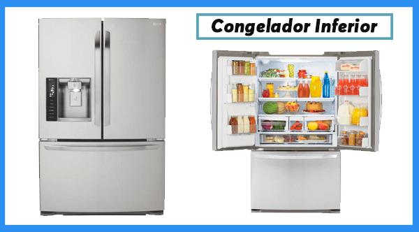 Refrigerador con congelador inferior